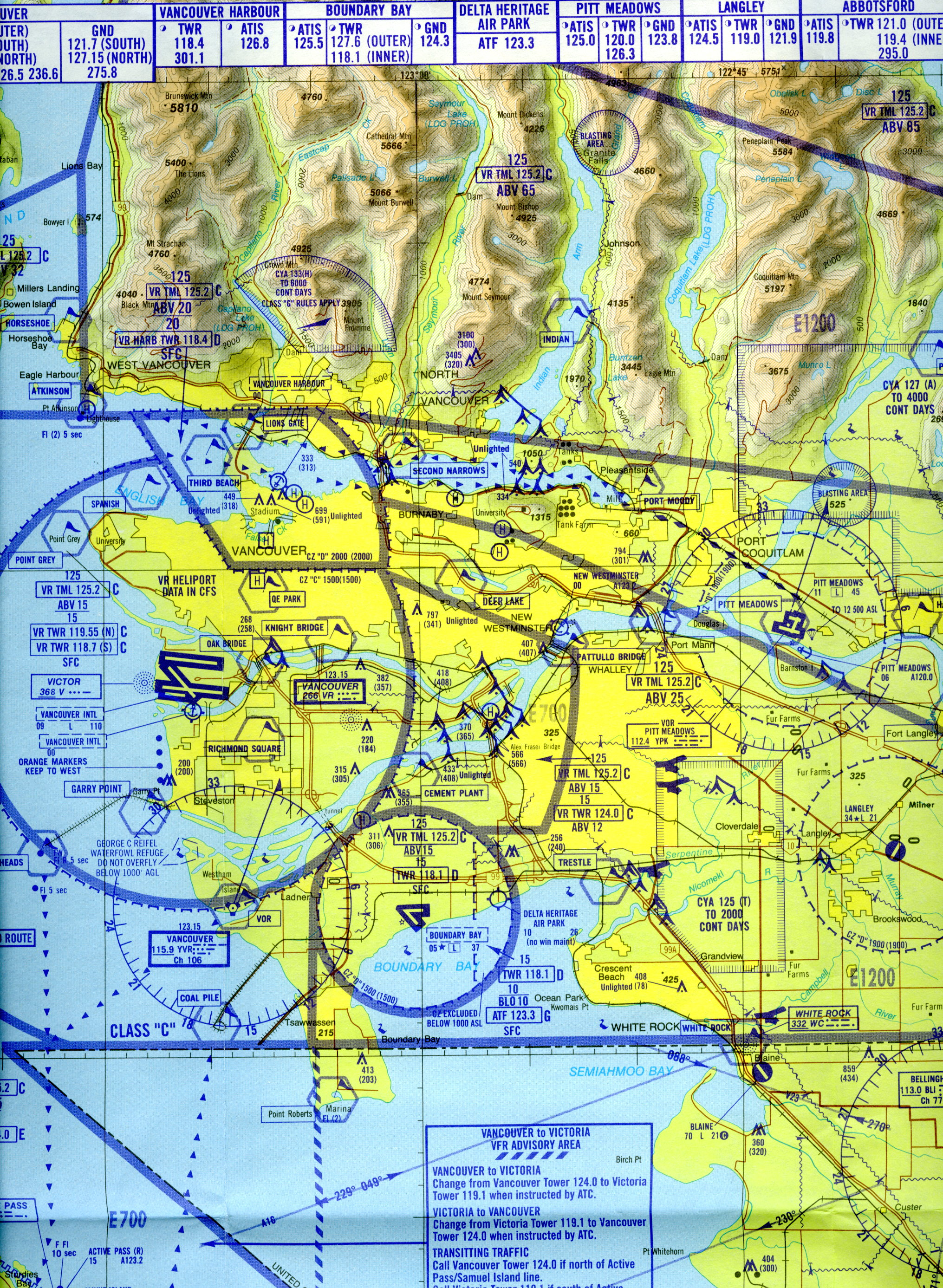 Sectional Air Map RR CPAIR CYVR Terminal Sectional map