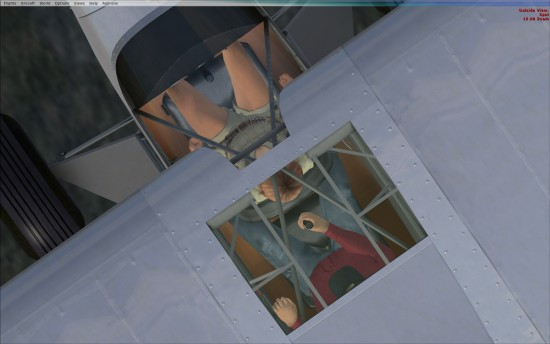 View through the skylight of passenger and pilot.