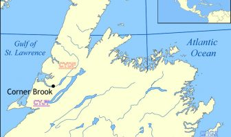 Figure 2 Newfoundland Map Showing airfields Courtesy Wikipedia