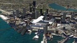 FS2004-Flying past city center with blocky ground textures