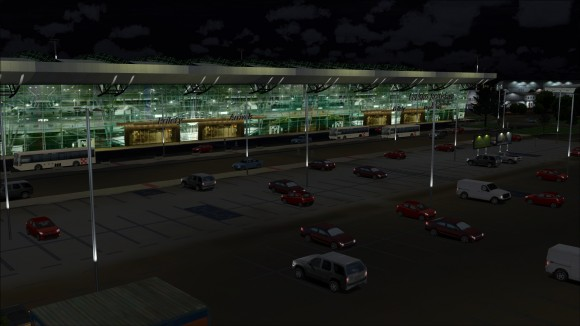 Arrivals side at night