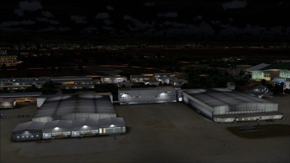Hangars at night