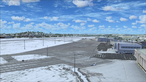Less travelled apron areas with some snow cover