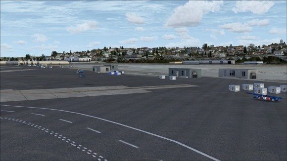 Cargo apron area with freight and loaders