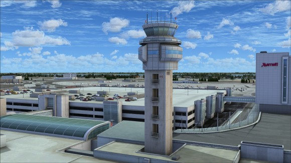 Control tower and multi-level parking garage roof top