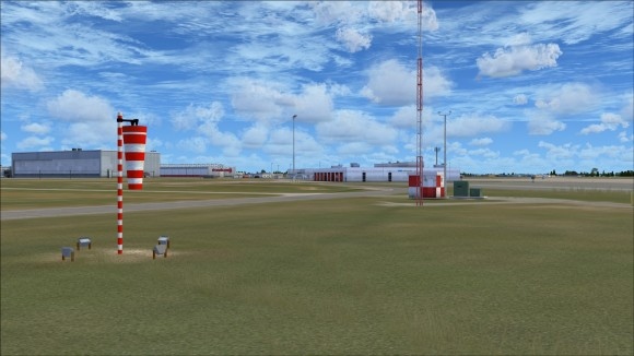Detailed wind sock and airfield equipment