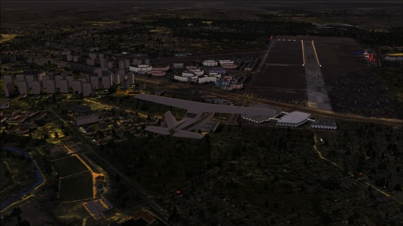 Babice airport at night