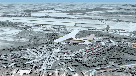 Flying over Modlin in winter