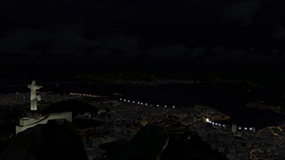 Christ the Redeemer overlooking Rio at night