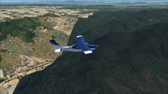 Distinct boundary between FSX and scenery coverage  area