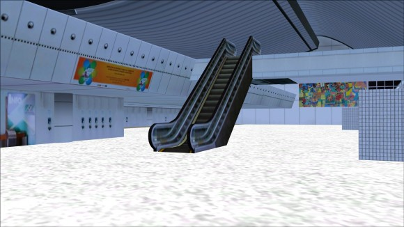 Terminal interior showing escalator