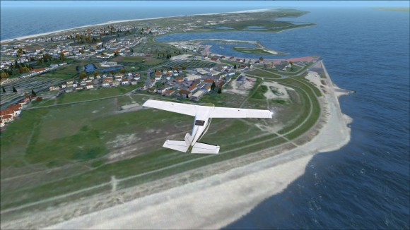 Flying westward over Norderney in DEX N