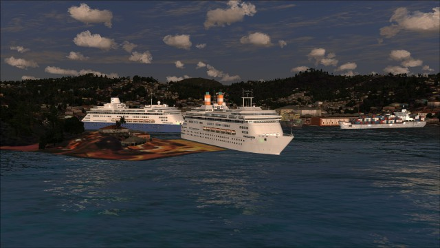 Cruise ships docked at Port Seraphine
