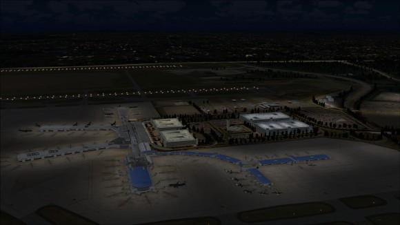 Looking down at apron lighting