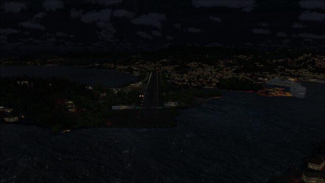 Runway lights visible