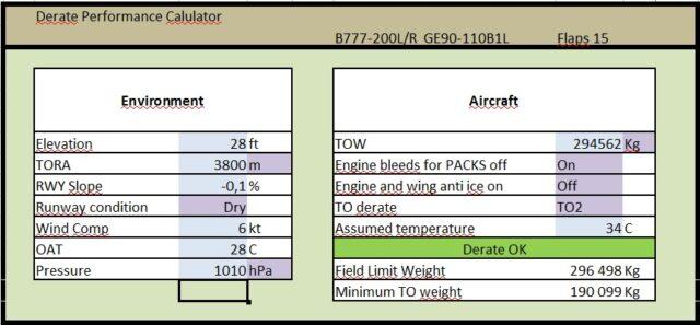 777-200LR Derate Calculator table