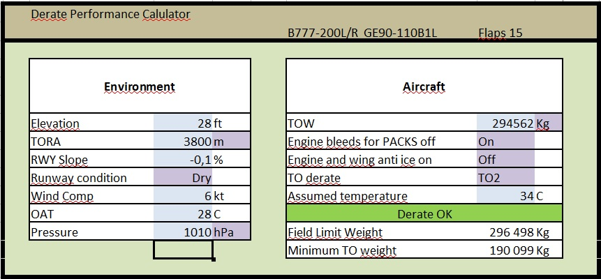 Free : Boeing 777-200LR Derate Calculator