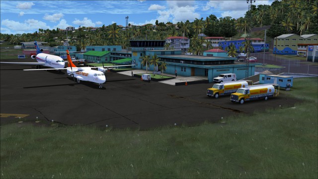 Fuel trucks, mobile power source and 3d people