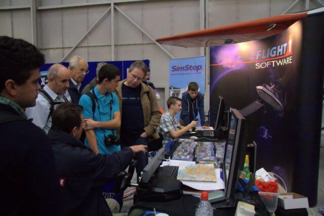 Flight1's stand with demos of X-Plane 10 64-bit