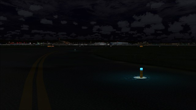 Ground illuminated near taxiway lights