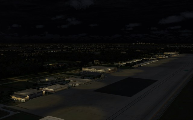 Apron lighting near cargo facilities