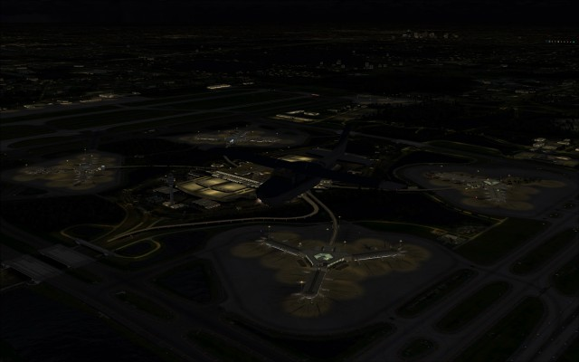 Main terminal lit up at night