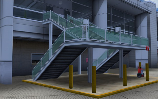 One of many detailed stairways