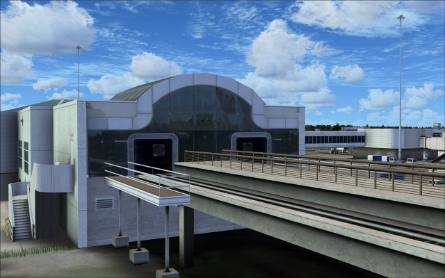 People mover entrance into terminal