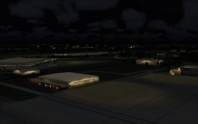 Several hangars lit up