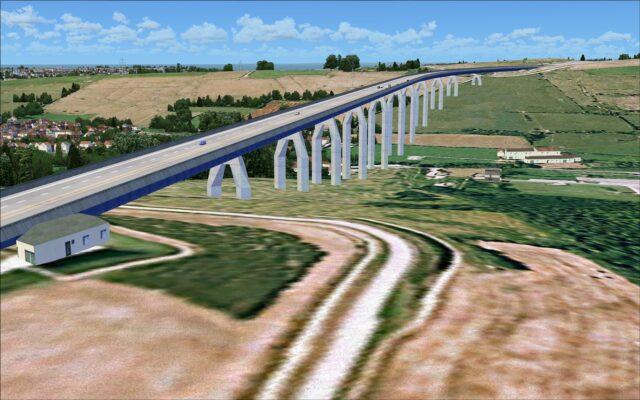 Bridge with aniimated vehicle traffic