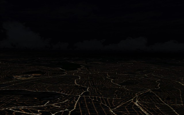 City at night showing roadways with no added 3d buildings