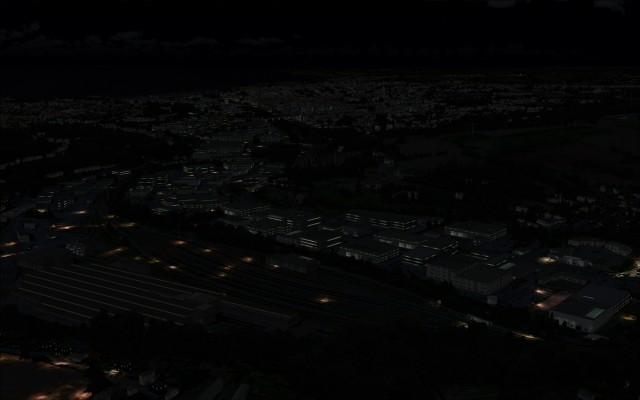 Commercial buildings at night
