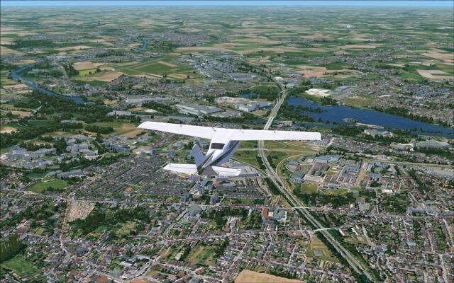Flying over Valenciennes approaching LFAV Valenciennes-Denain Airport