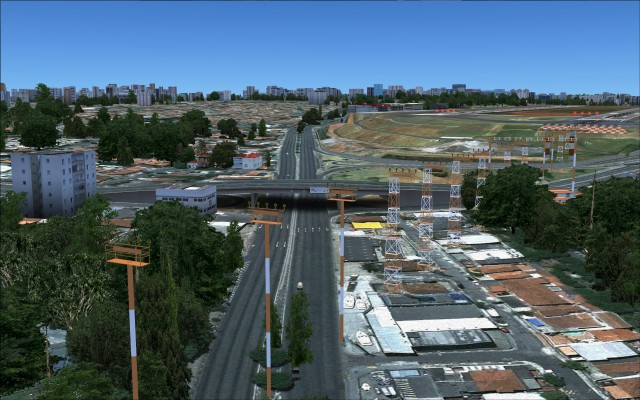 Realistic highway overpass and approach lighting near SBSP