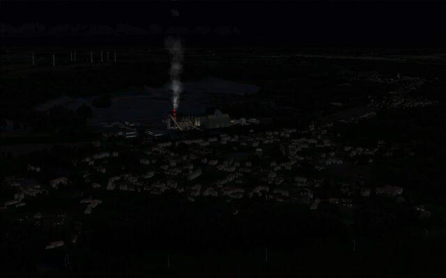 Smoke stack lit up