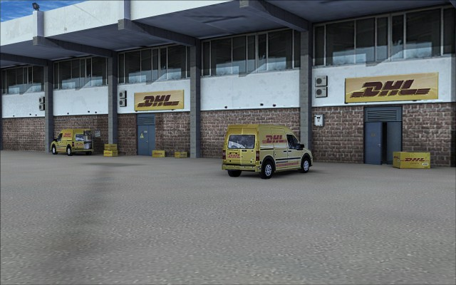 DHL building area detail - Note the partially open door
