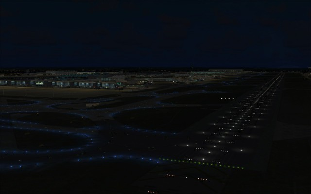 Colourful runway and taxiway lighting