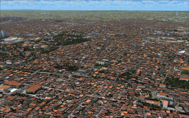 Densely populated area surrounding airport