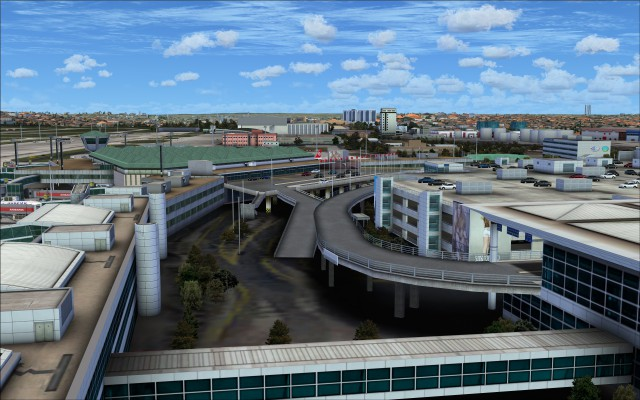 Elevated roads near car park and terminal 2 entrance