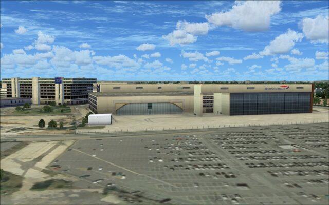 Parking lot near maintenance hangars