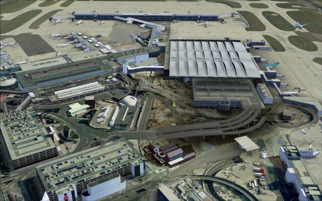 Terminals 2A, 2B, 1 and parking garages