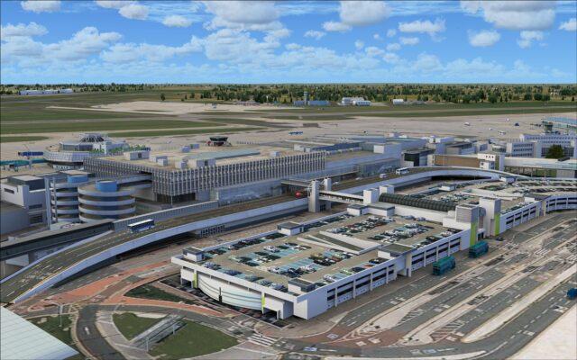 Arrivals side of terminal 1 including parking garage