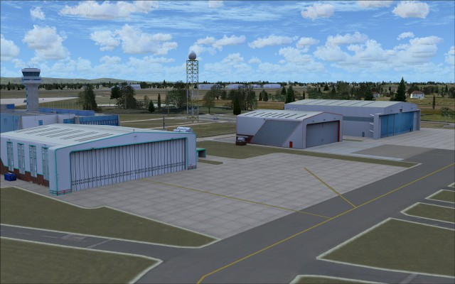 Hangars north of control tower
