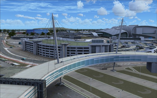 Terminal 1 elevated walkway and multi-level parking garage