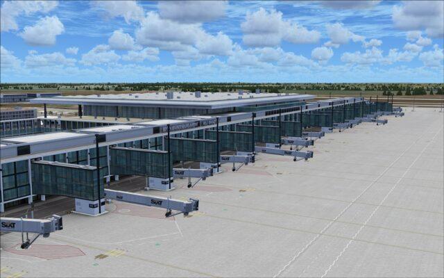 Aircraft stands at new terminal