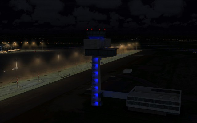 New tower all lit up for night time operations