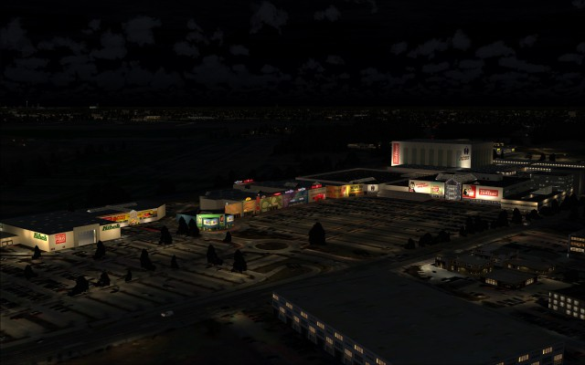 Shopping center at night