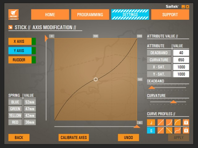 The settings page for the stick. Note that you can adjust all the axes separately.