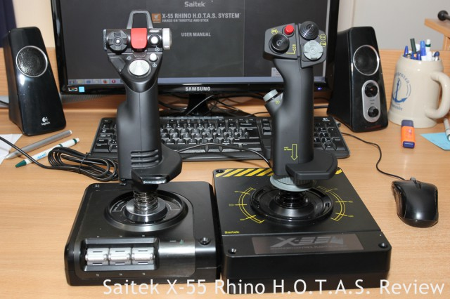 Size comparison! X-52 Pro stick on the left, X-55 Rhino stick on the right.