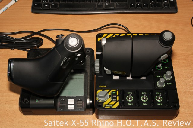 And another size comparison! X-52 Pro throttle on the left, X-55 Rhino throttle on the right.